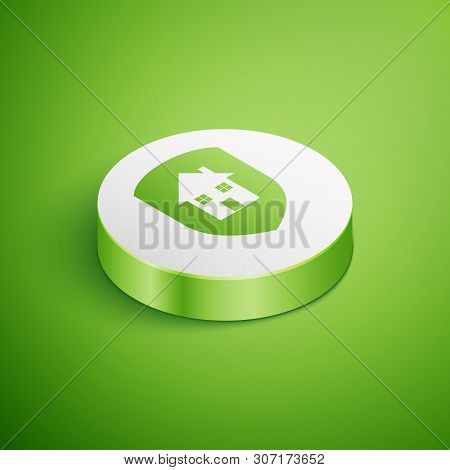 Isometric House under protection icon isolated on green background. Home and shield. Protection, safety, security, protect, defense concept. White circle button. Vector Illustration poster