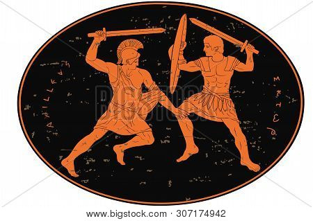 Two Mythological Heroes, Achilles And Hector, Fight With Swords. Oval Medallion Isolated On White Ba
