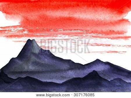 Minimalistic Landscape. Dark Silhouette Of High Mountains. Bright Red Sky With Heavy Stratus Clouds.