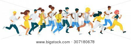People Racing Flat Vector Characters Set. Marathon, Group Of Diverse People Running Together. Leader