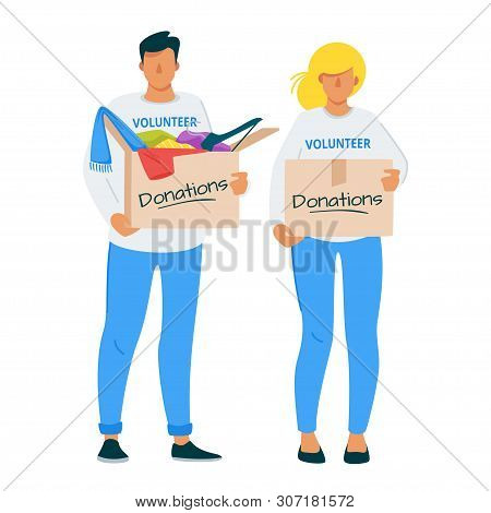 Man And Woman Donating Clothes To Charity Flat Illustration. Young Volunteers Couple, Caregivers, So