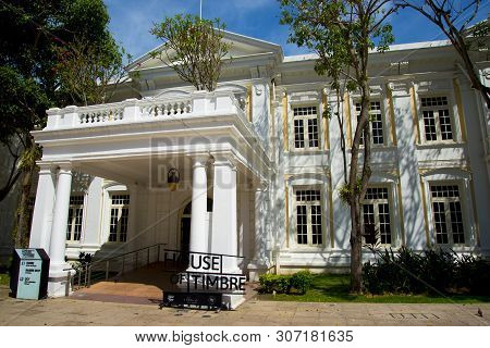 Singapore City, Singapore - April 13, 2019: House Of Timbre At The Arts House Is A Colonial Building