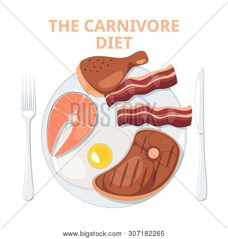 Fried Meat, Fish And Egg Meal On Plate Vector Illustration. High Calorie Diet. Roasted Bacon Slices,