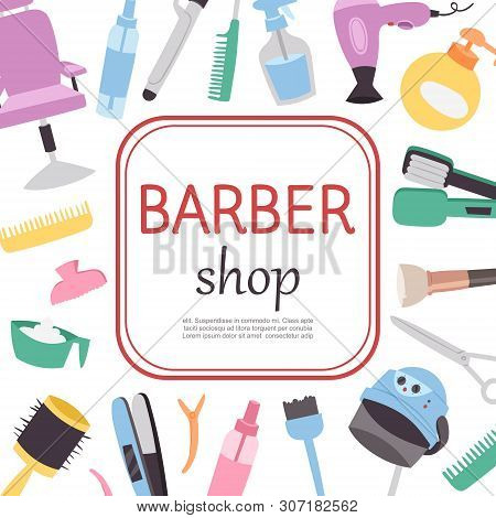 Barber Shop Cartoon Poster, Barber Work Tools Template With Your Text. Barbershop Chair, Hair Brushe