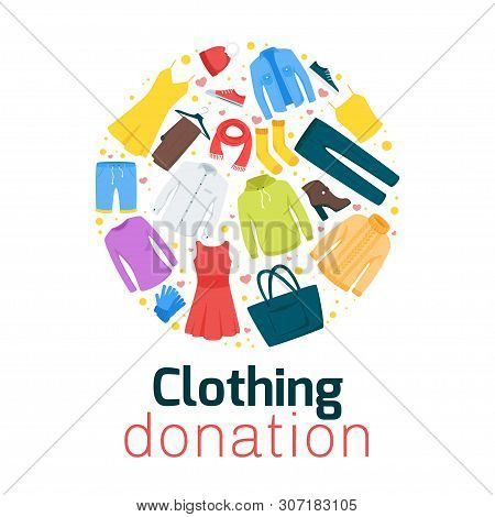 Clothing Donation Flat Vector Poster Template. Thrift Shop, Second Hand Store Web Banner Design. Hom