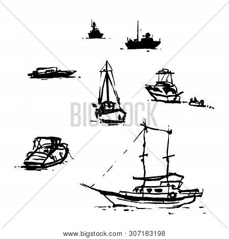 Digitalized Sketches - Various Boats Drawn In Bodrum On Plain Air. Brushpen And India Ink.