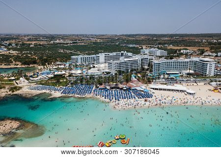 Cyprus, Ayia Napa Beautiful Aerial View Of The Most Famous Beaches In Cyprus - Nissi Beach, Landa Be