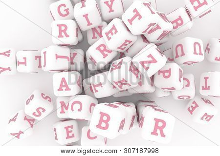 Bunch Of Abc Character Symbol Or Sign. For Graphic Design Or Background, Cgi Geometric. 3D Render.