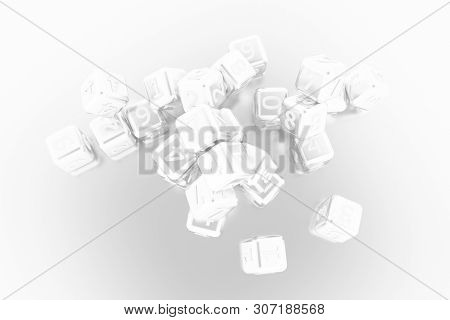 Illustrations Of Cgi Geometric, Bunch Of Number Character, Symbol Or Sign For Graphic Design Or Wall