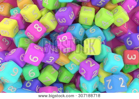 Cgi Geometric, Bunch Of Number Character, Symbol Or Sign For Design Texture, Background. 3D Render.