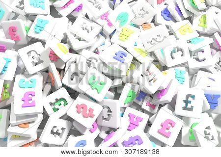 Cgi Geometric, Bunch Of Currency Character, Symbol Or Sign For Design Texture, Background. 3D Render