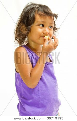 Happy Ethnic Child Enjoy Eat Snack