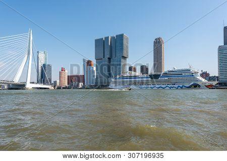 Rotterdam, Netherlands - April 18, 2019 : Aidamar Cruise Ship From The German Aida Cruises Company S