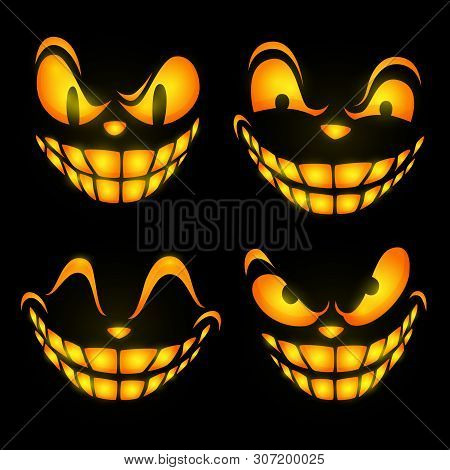 Ominous Face Expressions. Set Of Glowing Eyes And Teeth Of Cartoon Character. Can Be Used For Topics