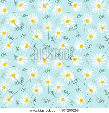 Sweet Daisy Flowers On Bright Blue Background Seamless Pattern.