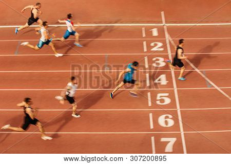 Finish Line Man Runners Sprinters Run 100 Meters Race Athletics