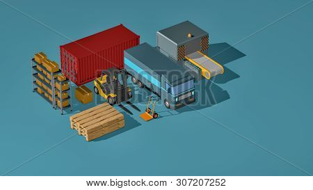 Supply Chain, Logistics, Transportation Concept. Isometric View (3d Render)