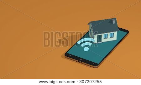 Smart Home Concept, Remote Control With Smartphone, Wifi, Copyspace, Isometric View (3d Render)