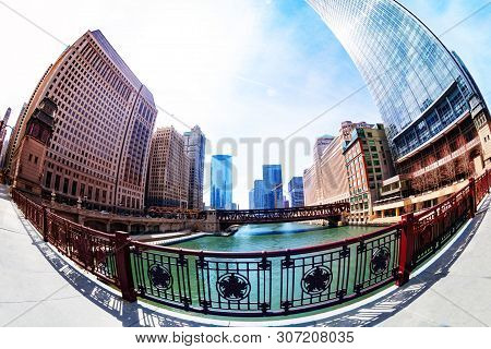 Fisheye Image Of River And Embarkment In Chicago