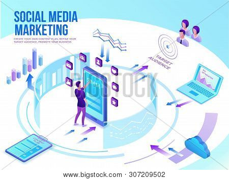 Social Media Marketing Concept, 3d Isometric Infographic Promotion Campaign, Online Digital Technolo