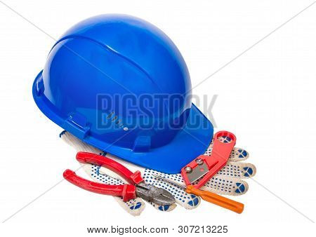 blue helmet awl nippers gloves and knife isolated on white background poster