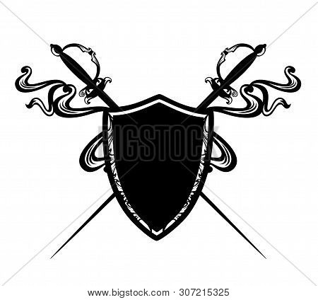 Crossed Epee Swords And Heraldic Shield With Flying Ribbons - Fencing Sport Black And White Vector E