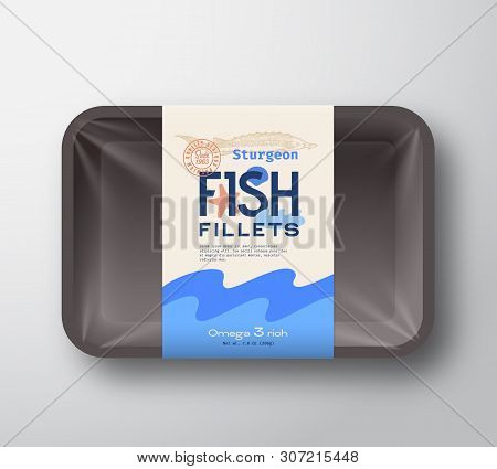 Fish Fillets Pack. Abstract Vector Fish Plastic Tray Container With Cellophane Cover. Packaging Desi