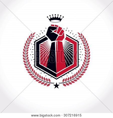 Vector Symbol Created Using Raised Fist Of A Muscular Man, Laurel Wreath And Royal Crown.  Fighter C