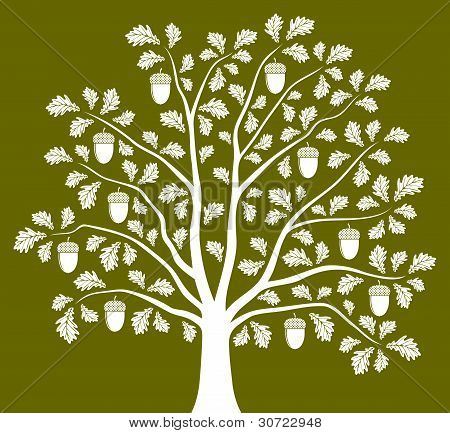vector abstract oak tree on green background poster