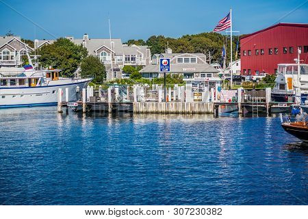 Cape Cod Marthas Vineyard, Ma, Usa - Sept 4, 2018: A Fuel Docking Point Along The Port