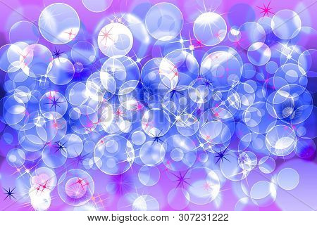 Blue Colors Defocused Bokeh Pattern Wallpaper. Abstract Blurred Background.