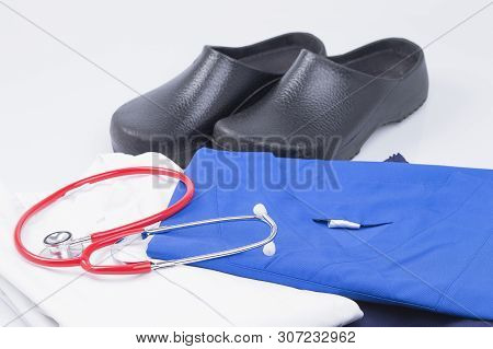 The Image Shows Different Unused Medical Clothing, Isolated On White