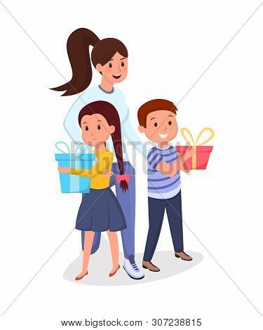Woman, Children With Presents Flat Illustration. Mother With Kids, Elder Sister With Siblings Holdin