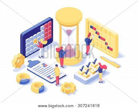 Project Management Lab Isometric Illustration. Futuristic Time Planning Department Workers Schedulin