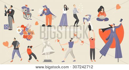 Set Of Vector Illustrations Of Various Street Performances. Big Festival Of Street Culture And Enter