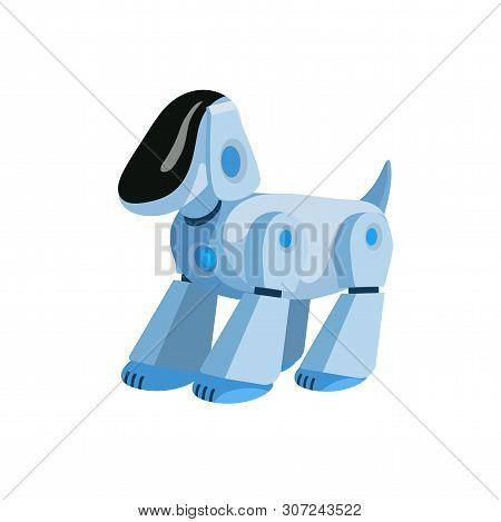 Robotic Dog Flat Vector Illustration. Cartoon Electronic Pet, Robot Puppy, Modern Kids Toy Isolated