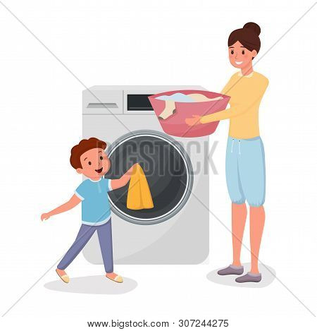 Mother with son doing laundry characters. Child helping mom doing domestic chores isolated illustration. Parent with kid loading clothes in modern washing machine together flat vector drawing poster