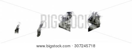 Heavy Smoke Period (full Stop) Comma And More Or Less Signs Isolated On White Background, Disaster O