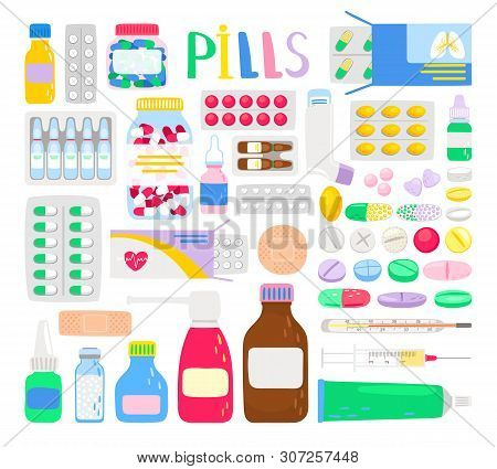 Medicines And Medications. Treatment Pills And Analgesic Tablets, Aspirin Bottle Container And Throa