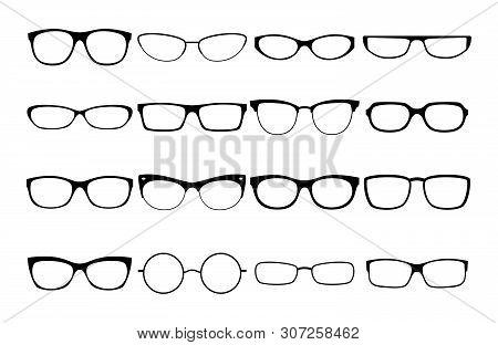 Vector Glasses Frames. Black Rim Glasses Vector Collection, Eyeglasses Frame Fashion Model Set, Sung