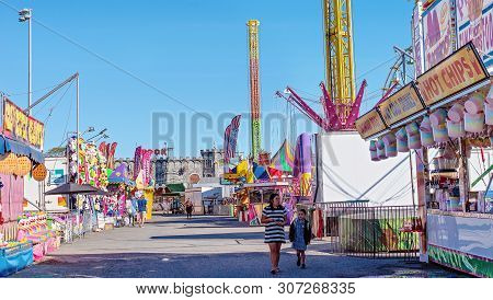 Mackay, Queensland, Australia - June 2019: Amusement Thrill Ride At Pioneer Valley Country Show