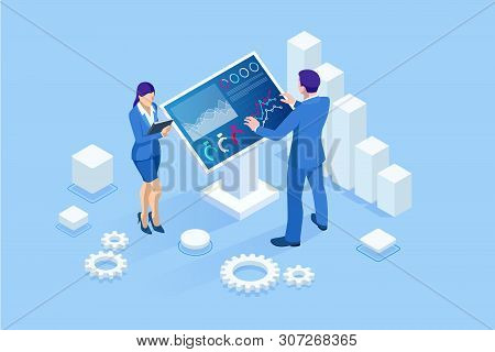 Isometric Male In Front Of The Big Screen For Data Analysis. Statistics And Business Statement, Anal