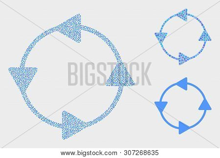 Pixelated And Mosaic Ccw Circulation Arrows Icons. Vector Icon Of Ccw Circulation Arrows Combined Of