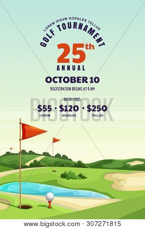 Golf Tournament, Poster, Ticket Or Banner Design Template. Vector Cartoon Illustration Of Golf Cours