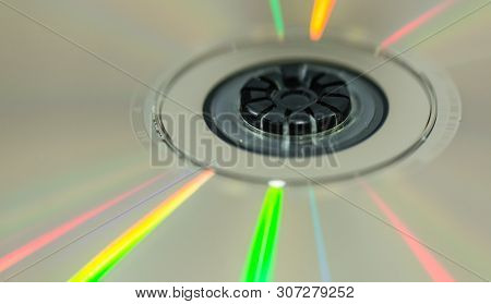 Cd With Colorful Reflection Light Detail Macro View