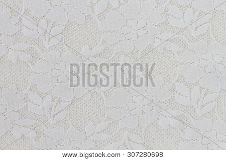 White Flower Lace Pattern Background. Flower Lace Pattern In Vintage Style For Design