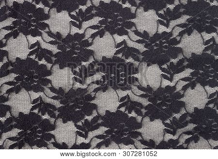 Black Flower Lace Pattern Background. Flower Lace Pattern In Vintage Style For Design