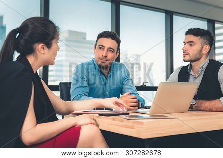 Business People Entrepreneurs Teams are Meeting Discussing and  Problem Solving Together Their Project  in Conference Room. Professional Entrepreneurship Teamwork are Business Dealing Meeting Together