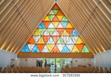 Christchurch, New Zealand -october-01-2017 : The Inside Of Cardboard Cathedral In Christchurch, New