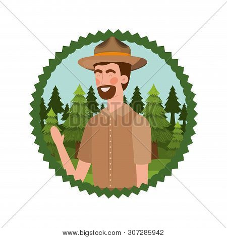Forest ranger man cartoon design, life protector nature fauna and green theme Vector illustration poster